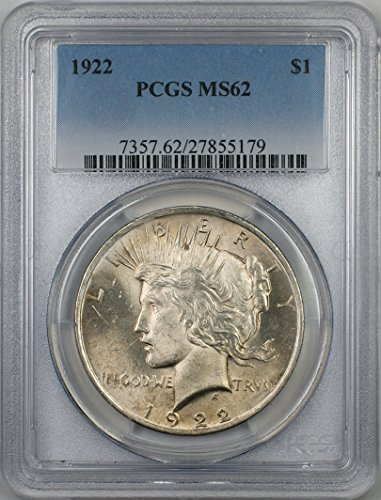 1922 Peace Silver Dollar Coin $1 PCGS MS-62 (1J)