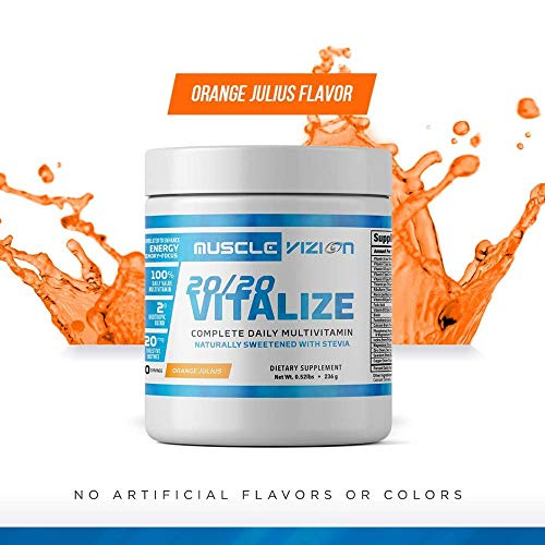 20/20 Vitalize Daily Multivitamin Powder Nootropic Brain Support +Stress Relief Digestive Enzymes for Men and Women:Naturallly Sweetened with Stevia.
