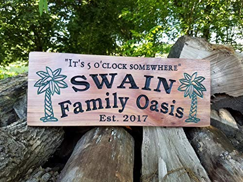 weewen Family Oasis Swimming Pool Last Name Personalized Wooden Printed Palm Tree Images Pool Deck Housewarming Gift Red Home Decorative Plaque Sign with Sayings Cabin Decor