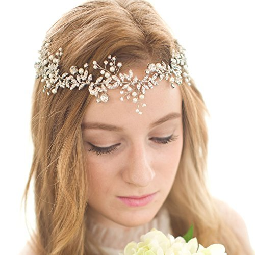 FAYBOX Handmade Crystal Rhinestones Wedding Head Band Bridal Hair Accessorie Headpieces Silver-tone]()