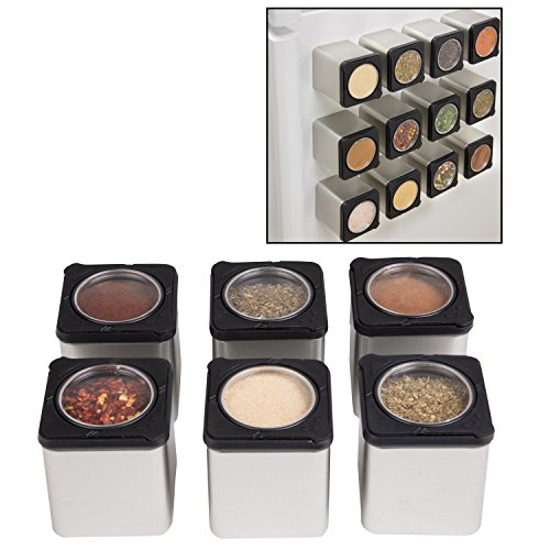 Magnetic Spice Jars - Tins Attach to Most Refrigerator Doors - Shake or Pour Containers - (Set of 6 Dispensers) (Magnetic Spice Tin)