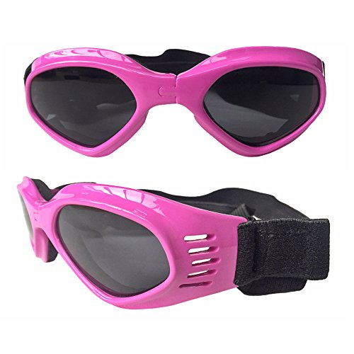 CAZZO Cool Pet Dog Motorcycles Bike Helmet/Sunglasses for Sun Rain Protection,Funny Halloween Cosplay Costume and Christmas Gifts for Cats Dogs (Pink Sunglasses) -