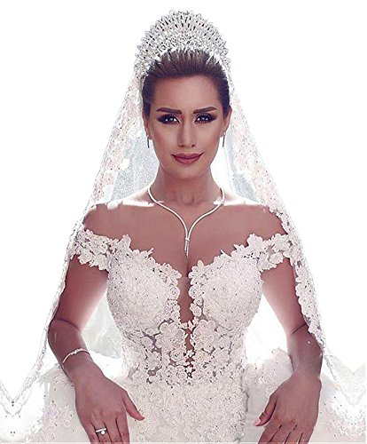 Dressylady Off the Shoulder See-through Corset Bodice Beaded Appliques Wedding Dress(20w)