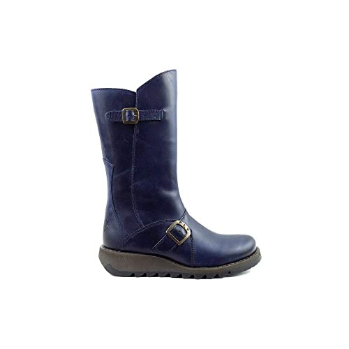 6a6b7ab9 Fly London Mes 2 Blue Leather Womens Mid Calf Boots: Amazon.co.uk ...
