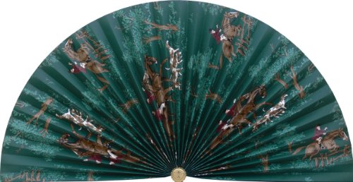 Neat Pleats Decorative Fan, Hearth Screen, or Overdoor Wall Hanging - English Fox Hunt in Dark Teal Green with Hounds Dogs, Horse, & Rider - ()