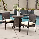 Great Deal Furniture Carmela Outdoor 3pc Multibrown Wicker Bistro Set Review