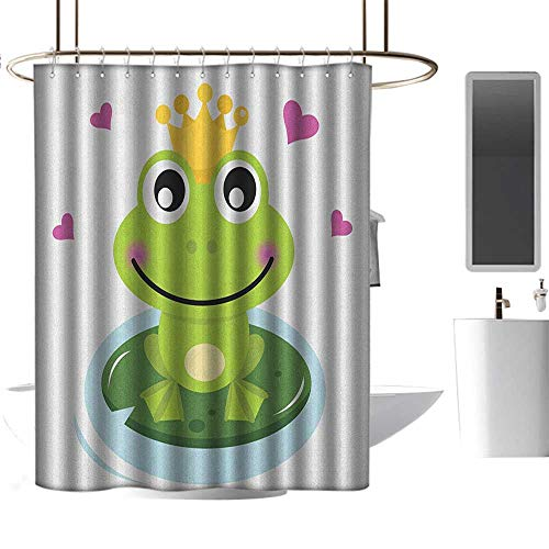 Qenuan Shower Curtain for Bathroom Animal,Cartoon Cheerful Frog Prince with a Crown and Hearts Fairy Tale Character Doodle, Multicolor,Machine Washable - Shower Hooks are Included 36