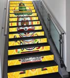 Stair Stickers Wall Stickers,13 PCS Self-adhesive,Day Of The Dead Decor,Mexican Sugar Skull with Tacos and Chili Pepper November 2nd Colorful Art,Yellow,Stair Riser Decal for Living Room, Hall, Kids R