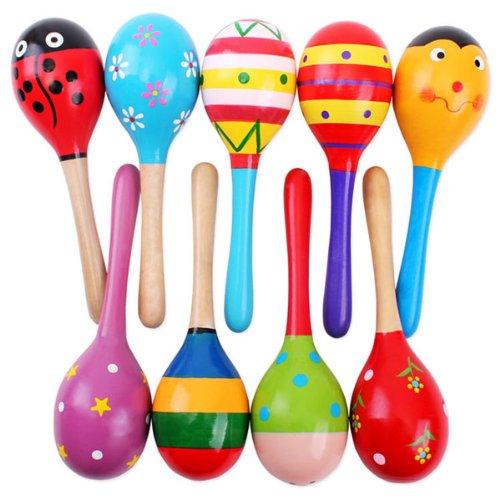 Pixnor 2ST 20cm Funny Kinder Kinder Maracas Rassel Shaker musikalische Bildungs Holzspielzeug (zufällige Farbe Muster)