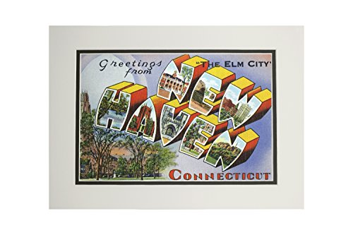 (New Haven, Connecticut - Large Letter Scenes - Greetings from - Vintage Halftone (11x14 Double-Matted Art Print, Wall Decor Ready to Frame) )