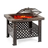 Outdoor Fire Pits iKayaa Metal Square Backyard Firepit Table with Cover, Poker and BBQ Grill