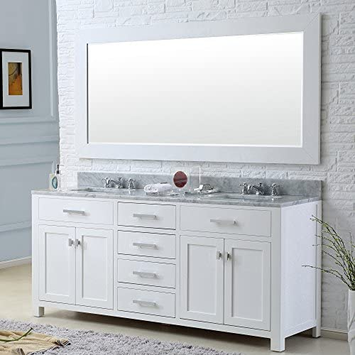 Water Creation MADISON 60WB 60-Inch Solid White Double Sink Bathroom Vanity with Matching Framed Mirror