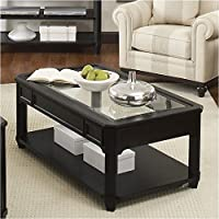 Bowery Hill Glass Top Rectangular Cocktail Table in Black Birch