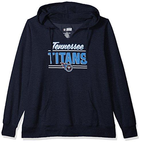 NFL Tennessee Titans Women FLEECE PULL OVER NOTCH HOOD, NAVY, 2X