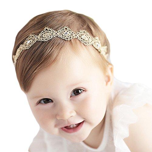 Xinshi Baby Rhinestone Crown Headbands Toddler Princess Hair Band (Golden)