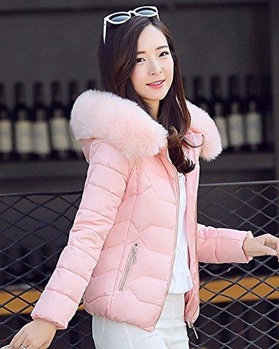 con ZhuiKun Cappotto Cappuccio Invernale Corta Donna Pink Giacca Snello Calda Imbottita Pelliccia Spessa di rgrzqx8