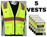 Worktex Safety Two-Tone Class 2 Surveyor Fabric Safety Vest, Yellow/Lime, Size M, 5 per Pack