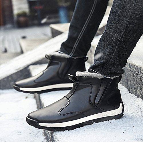 Fung-wong Mens Bottes De Neige En Cuir Cheville Baskets Chaussures Dhiver Avec Doublure En Fourrure Noir