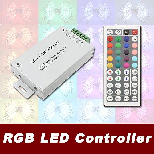 Crystal Vision 12V-24V DC 12A 240W 44Key Remote Controller for RGB LED Strip 5050 3528 SMD