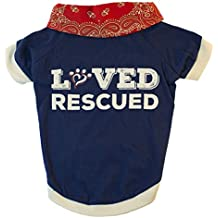 MuttNation Fueled by Miranda Lambert Loved & Rescued T-Shirt for Dogs, Medium, Red White and Blue
