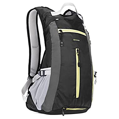 15L Hiking Daypack - Evecase Compact Waterproof Outdoor Climbing Cycling Sport Backpack- Black
