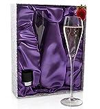 Champagne Flute Set, Crystal + Champagne Stopper   Elegant Crystal Flutes Designed to