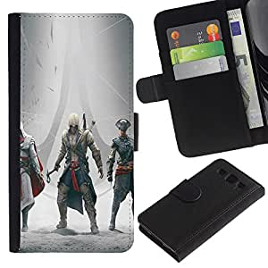 MobileTech / Samsung Galaxy S3 III I9300 / Assassins Gathering / Cuero PU Delgado caso Billetera cubierta Shell Armor Funda Case Cover Wallet Credit Card