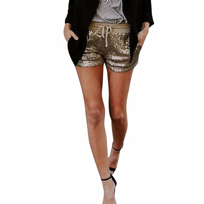 f7c5e235726f CLOOM Mode Damen Pailletten Shorts Mittlere Taille Sexy Shorts mit Tasche  Beiläufig Hot Pants Sommershorts Damenhosen