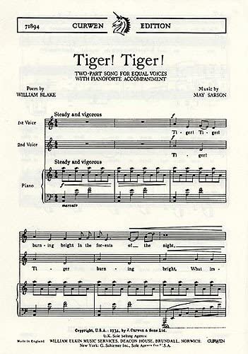 May Sarson: Tiger. Tigre. partitura de música para dos voces ...