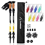 TrailBuddy Hiking Sticks - 2-pc Pack Adjustable Walking or Trekking Poles - Strong, Lightweight Aluminum 7075 - Quick Adjust Flip-Lock - Cork Grip, Padded Strap - (Bumblebee Yellow)