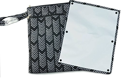 "Sarah Wells ""Pumparoo"" for Breast Pump Parts, Wet Dry Bag with Staging Mat (Black & White)"