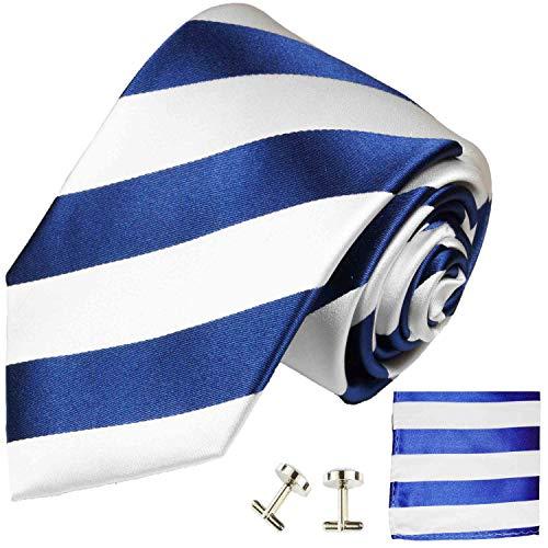 Paul Malone Necktie, Pocket Square and Cufflinks 100% Blue White Stripes