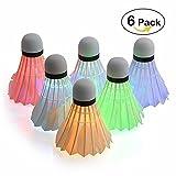 Fastdisk [6 Pack] Colorful LED Badminton Set Shuttlecock Dark Night Glow Birdies Lighting for Outdoor/Indoor Sports Activities Badminton Nets