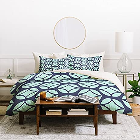 2 Piece Coastal Geometric Diamonds Themed Duvet Cover Set Twin XL Size Featuring Stylish Focal Point Bedding Modern Nautical Geo Abstract Oblong Design Bold Bohemian Jewel Tone Pattern Baby Blue