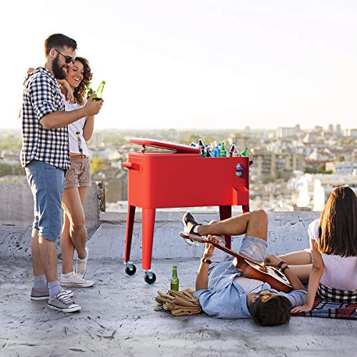 Giantex 80 Quart Cooler Cart Outdoor Cooler Cart on Wheels Patio Rolling Ice Chest for Beer Beverage Party Portable Cooler with Casters, Beverage Cooler Cart, Red Metal