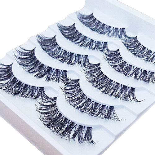 (5 Pairs Gracious Makeup Handmade Natural Long False Eyelashes Extension Exquisite Eye Lashes (Black))
