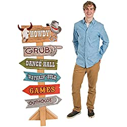 Fun Express - Western Party Directional Sign - Party Decor - Large Decor - Floor Stand Ups - 1 Piece