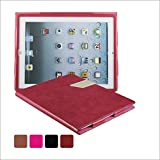 KEVENZ Ultra Thin Magnetic Leather Cover & Back Case For Apple iPad 2 / iPad 3 / iPad 4 - Rose Red - K405