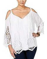 Inc International Concepts Plus Size Lace-Trim Cold-Shoulder Top