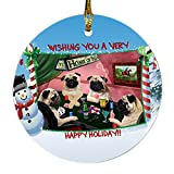 Home of Pugs 4 Dogs Playing Poker Photo Round Christmas Ornament