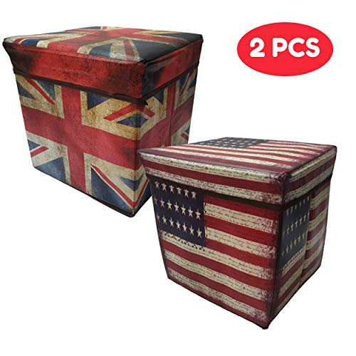 Macro Giant Foldable Storage Stool, Set of 2, USA & UK National Flag Pattern, 11.8 x 11.8 x 11.8 inch, Toy Box, Shoe Bench, Footstool, Clothes, Book Storage (Square Furniture Covers Patio Uk)