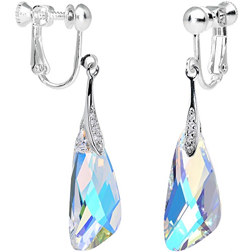 Body Candy Handcrafted Silver Plated Aurora Inspire Clip On Earrings Created with Swarovski Crystals