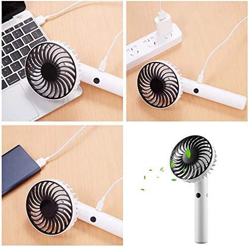 Kjdm Mini Ventilatore Elettrico, Silenzioso e Portatile, funzionante a Batteria e USB di Ricarica, Ventola a 7 Pale, 3 velocità, Colore Bianco