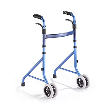 Walking Aids Four - Legged Lightweight Folding Rollator Walker Aid Adjustable Height Walking Stick with Wheel