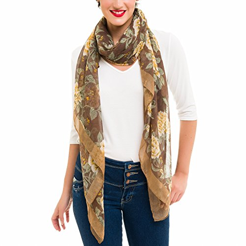 Scarf for Women Lightweight Fashion Fall Winter Flower Floral Scarves Shawl Wraps by Melifluos - Beautiful Floral Scarf