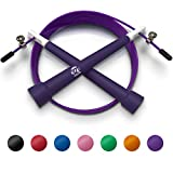 Plastic Fitness Jumprope with Adjustable 11 Foot Cable , Carrying Bag , Bonus 4K eBook and Replacement Parts - Purple