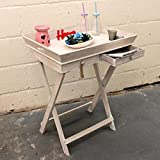 Living Tray Table Stand With Drawers - Grey