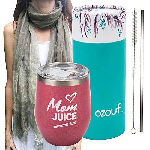 Mom Juice - Mom Gift - 12oz Wine Tumbler - Plus 100% Linen Scarf & Straw - Wine Gifts for Mom - Funny Wine Glasses for Mom - Birthday Tumbler - Mom Wine Tumbler - Mommy's Sippy Cup - Glitter Tumbler