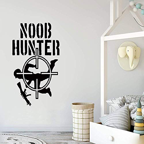Aspxi Wall Stickers Vinyl Words Sayings Removable Lettering Front Sight Noob Hunter Gamer Room Video Games Shooting Mural ()