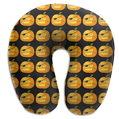HIBIPPO Soft U Neck Pillow Funny Halloween Pirate Pumpkin Neck-Supportive Travel Pillow